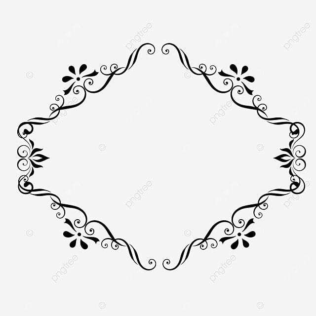 decorative border black and white linear draft beautiful garland