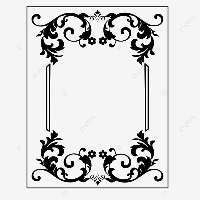 decorative border black and white linear draft beautiful retro