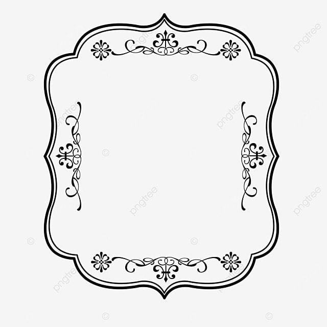 decorative border black and white linear draft classical irregular