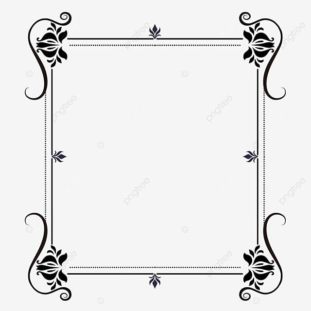 decorative border black and white linear draft elegant flowers