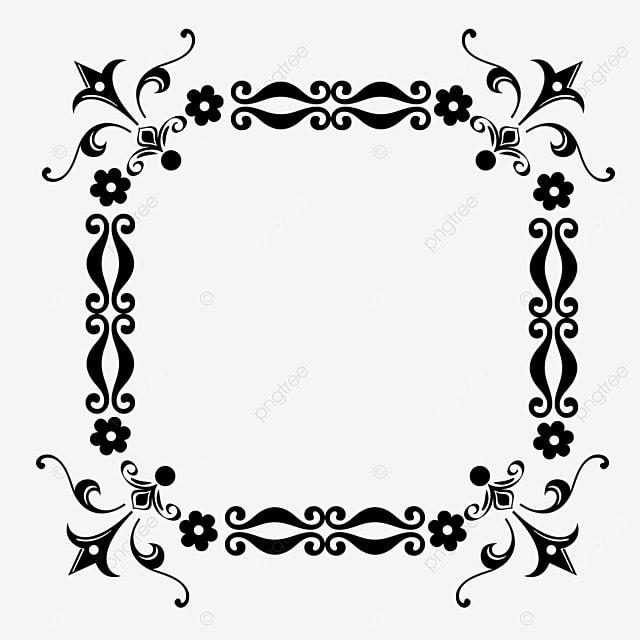 decorative border black and white linear draft european style