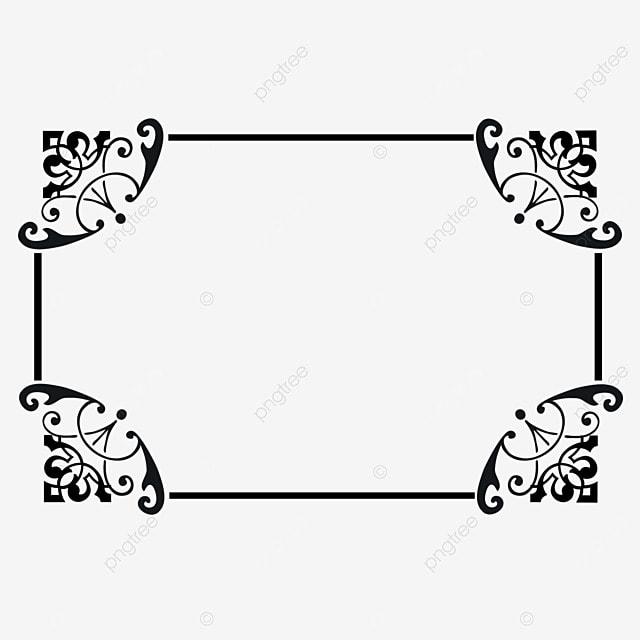 decorative border black and white linear draft rectangular pattern