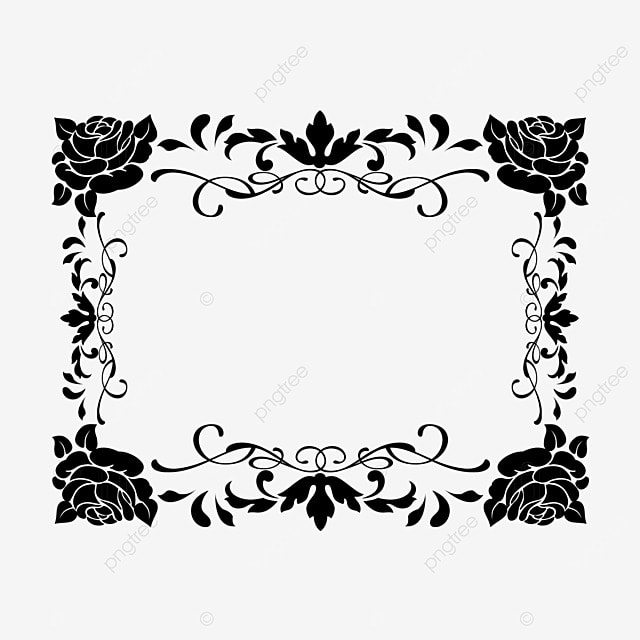 decorative border black and white linear draft rose flower