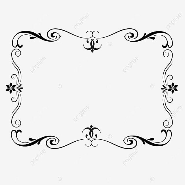 decorative border black and white linear draft simple style