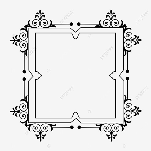 decorative border black and white linear draft square pattern