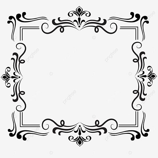 decorative border black and white linear draft square victorian style