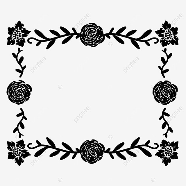 decorative border black and white lineart flowers and leaves