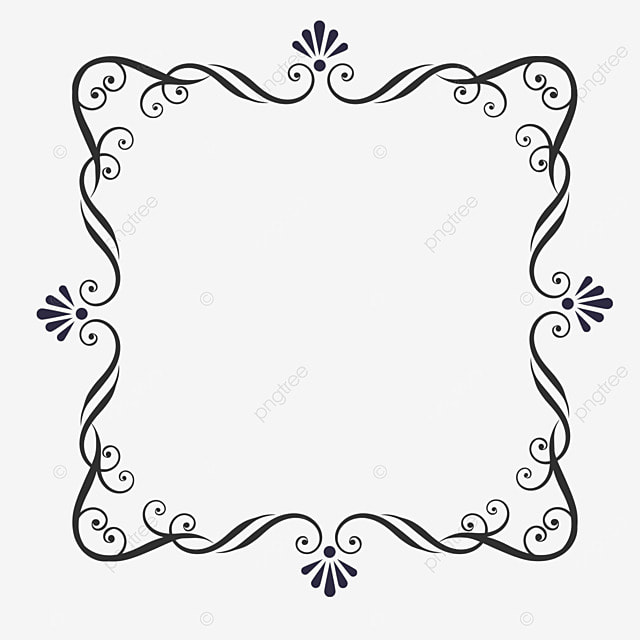 decorative border black and white lineart retro europe