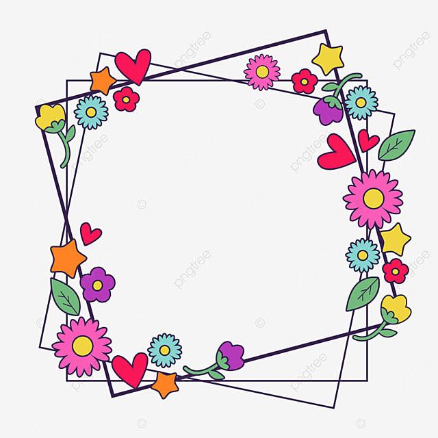 decorative border cartoon flowers