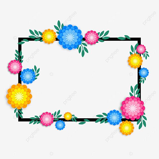 decorative border colorful flowers