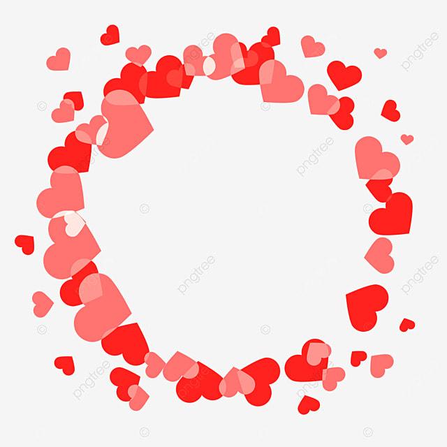 decorative border red love heart
