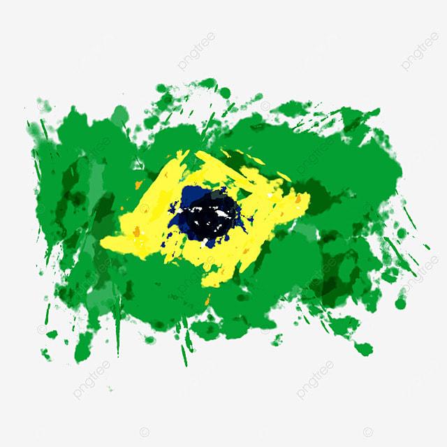 flag brazil color brush splash irregular abstract