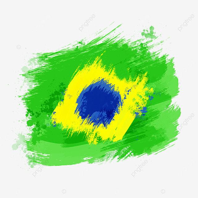 flag brazil colored brush irregular art