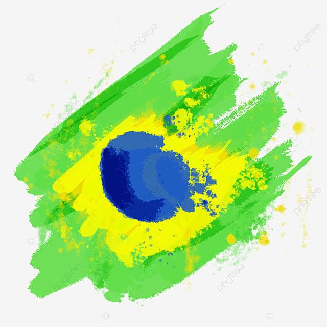 flag brazil colored brush watercolor creative