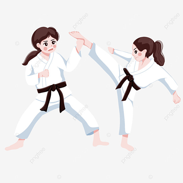 karate martial arts two female athletes