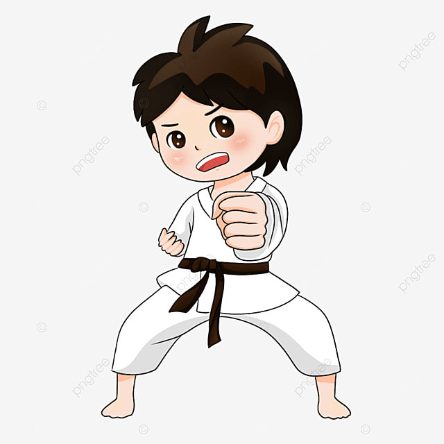karate pose male gi