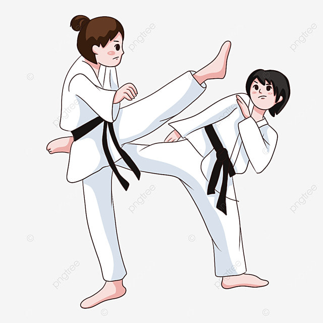 karate two fight against each other