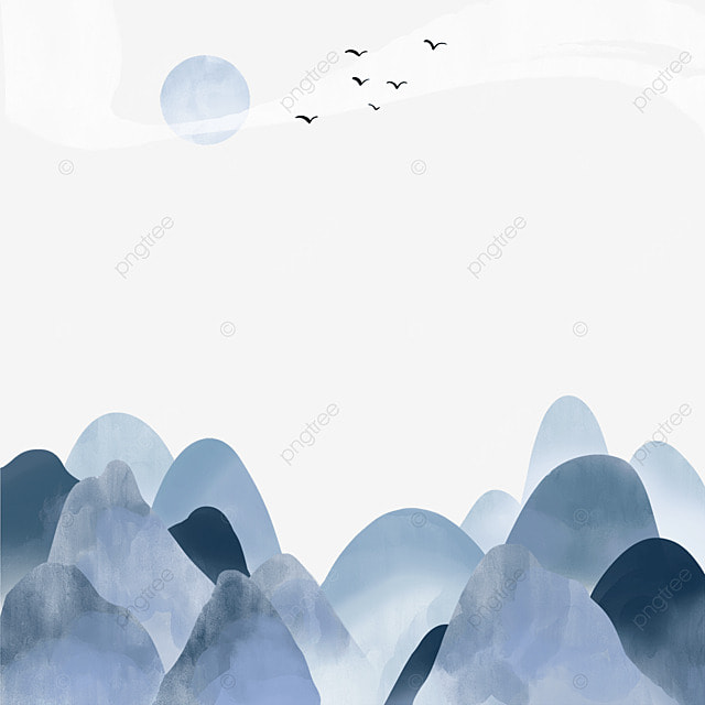 korean ink blue landscape landscape