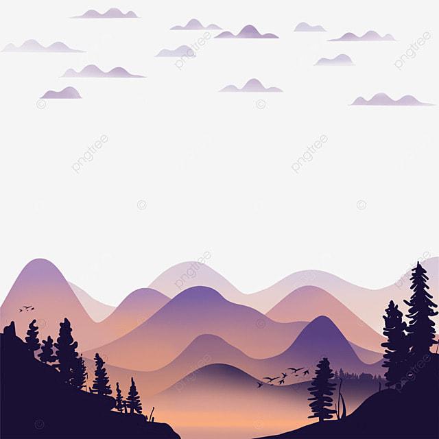 mountain forest soft gradient color landscape