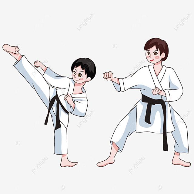 two athletes in karate jiu jitsu