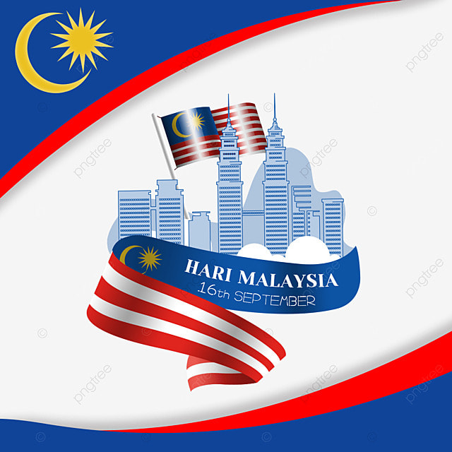 malaysia day red and blue decoration illustration