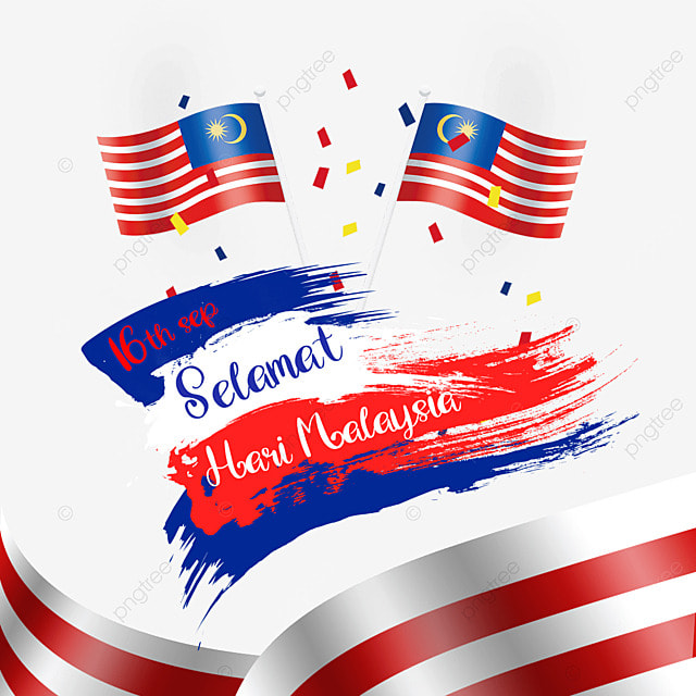 malaysia day watercolor brush flag