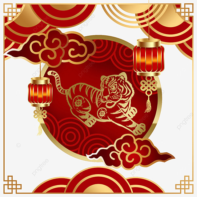 auspicious cloud border of chinese new year and tiger spring festival 2022