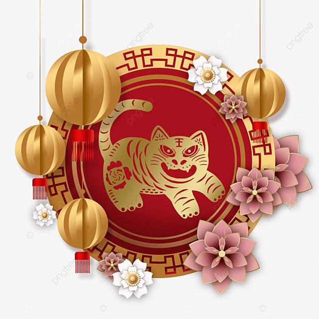 chinese new year tiger spring festival 2022 golden lantern frame