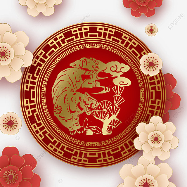 chinese new year tiger spring festival 2022 paper cut pen frame