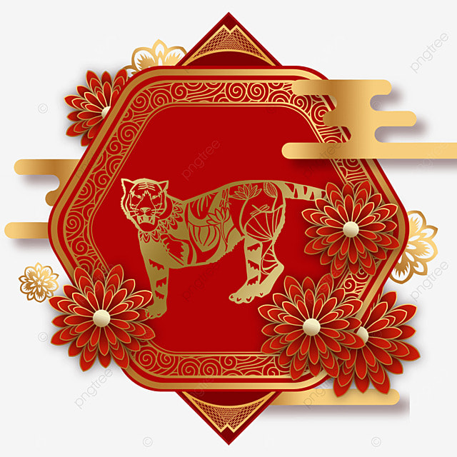 chinese new year tiger spring festival 2022 polygon border