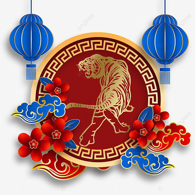 chinese new year tiger spring festival 2022 red and blue texture