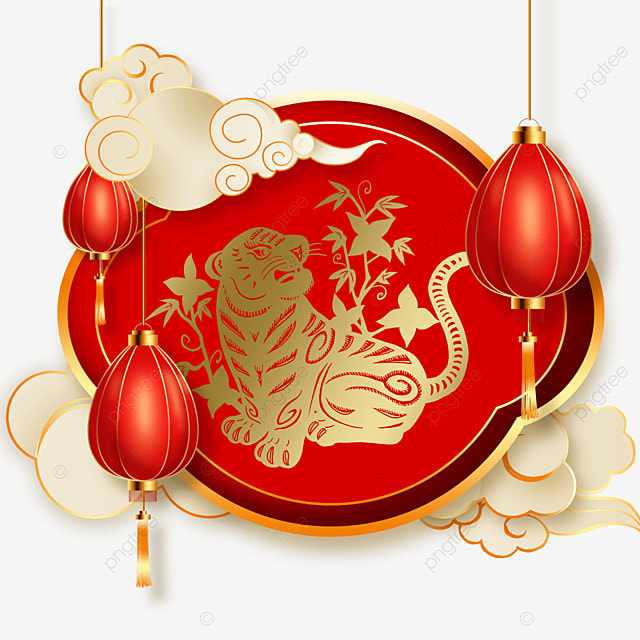 chinese new year tiger spring festival 2022 red creative border