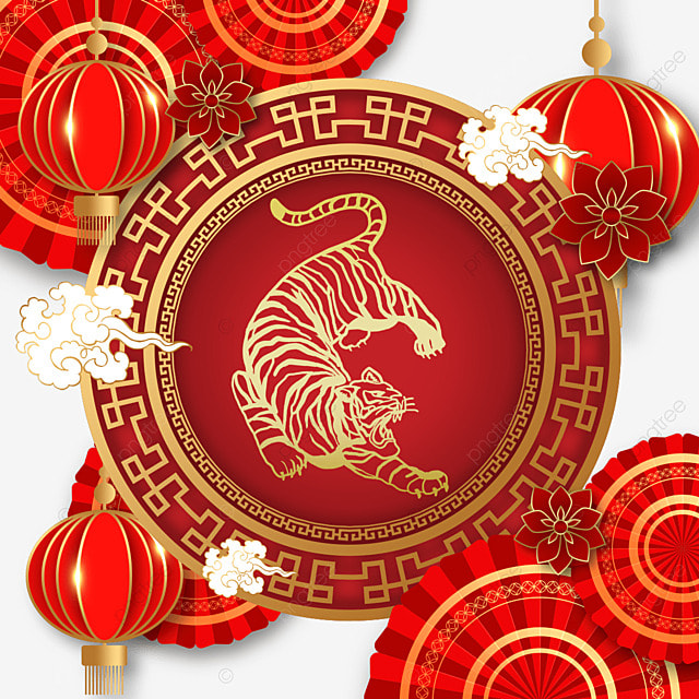 chinese new year tiger spring festival 2022 red