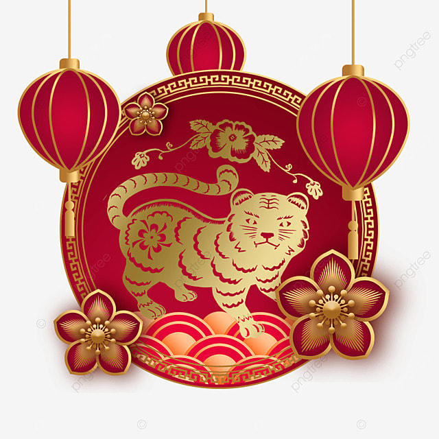 chinese new year tiger spring festival 2022 retro frame