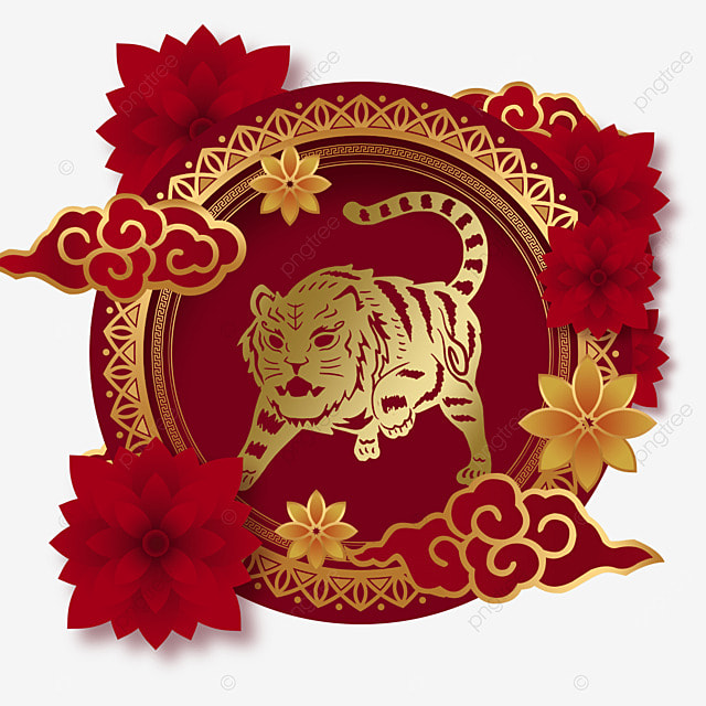 chinese new year tiger spring festival 2022 round frame