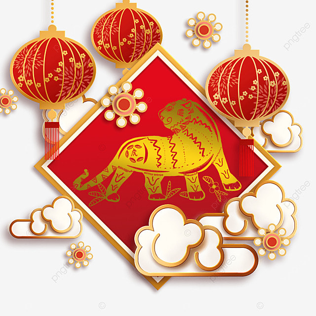 chinese new year tiger spring festival 2022 square frame