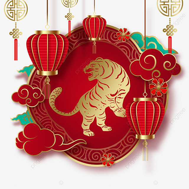 chinese new year tiger spring festival 2022 traditional border
