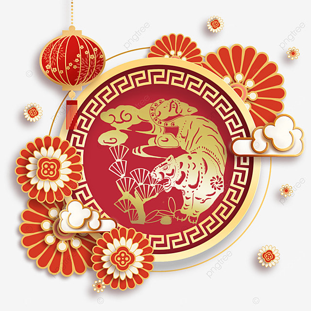 chinese new year year of the tiger spring festival 2022 three dimensional frame