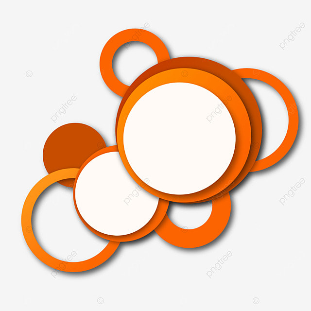 border round abstract paper cut orange