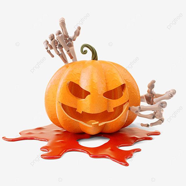 halloween pumpkin hand bone
