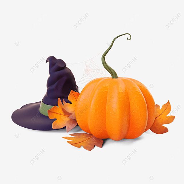 halloween pumpkin wizard hat 3d
