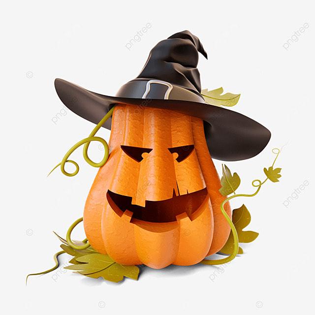 halloween wizard hat and pumpkin