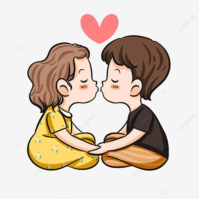 lovers kiss characters cartoon style
