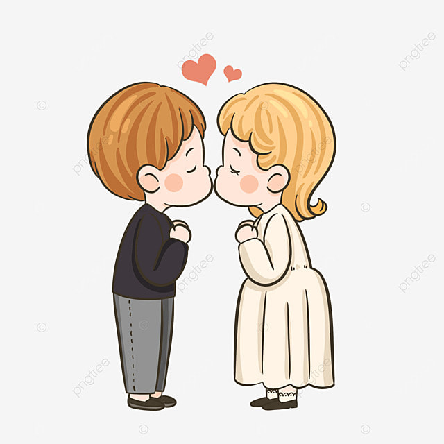 lovers kiss characters cute style