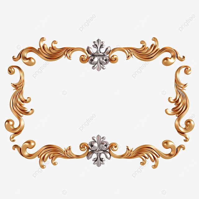 3d frame retro gold and silver decoration