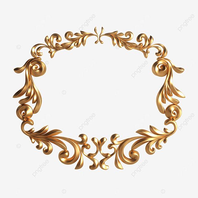 3d gold metallic frame