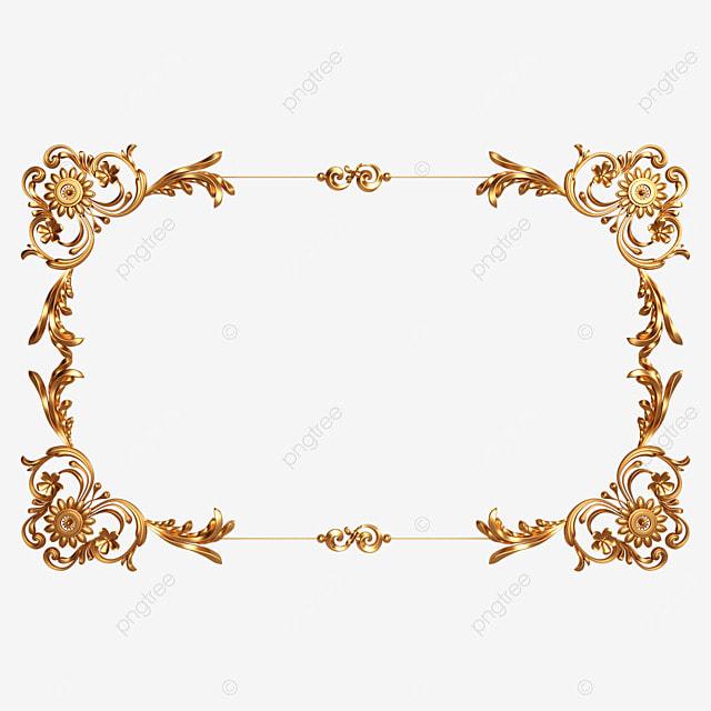 3d solid metallic gold frame