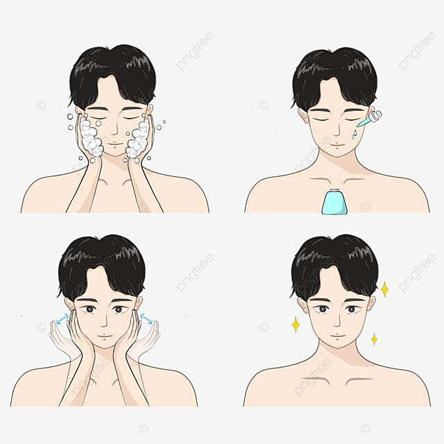 cartoon characters for mens facial cleaning and maintenance