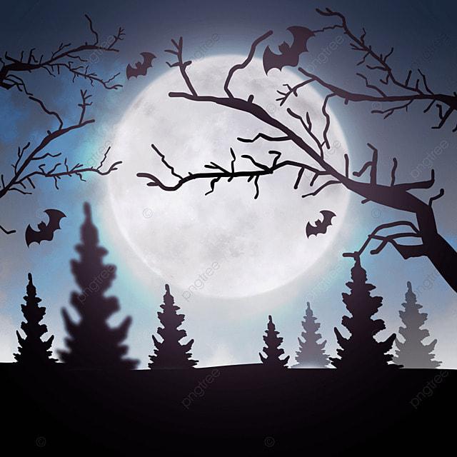 dead branches in halloween moonlight