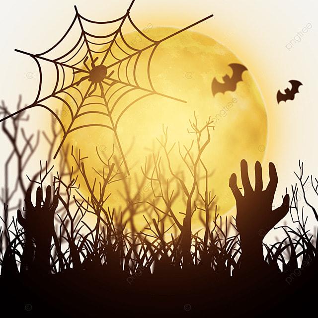 halloween golden moonlight cobwebs and cemeteries